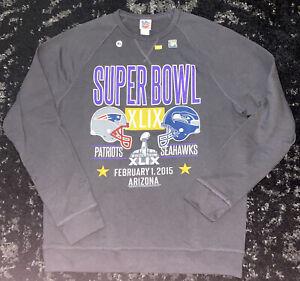 Super Bowl XLIX Sweatshirt New England Patriots Seattle Seahawks XL NWOT