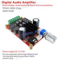 12V-24V Audio Power Amplifier 50W+50W TPA3116 D2 Dual Channel Digital AMP Board