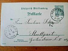 GERMANY WURTT1900 CARD FROM HERRENBERG TO STUTTGART 2
