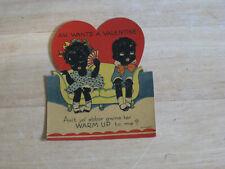 Vintage Black Americana Valentine Card. Shy boy and girl. Printed in Germany