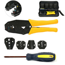 Crimping Tool Kit with screwdriver, 5 Changeable Die Sets, Oxford Bag