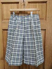 Made in USA LL Bean Shorts Women Size 6 Beige Plaid Linen Blend Pleated Bermuda