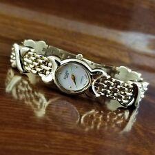 New Women's ELGIN Swiss Gold TN Oval XOXO Link Bracelet Watch MOP Dial