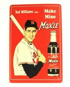 New Ted Williams Moxie Cola Tin Poster Metal Sign Vintage Ad Look Boston Red Sox