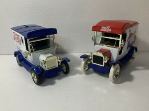 Pepsi Cola Ford 1912 Delivery Car Coin Bank Die-Cast 1:24 Set Of 2 W/ Keys EUC!!