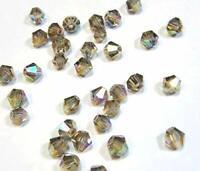 40 Black Diamond 4mm Doppelkegel Tschechische Kristall Glasperlen BEST  X25