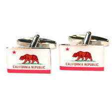 Flag Cufflinks With Gift Pouch Flags White & Red California Us American State