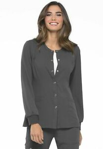 """Elle Scrubs Style #300 Crew-Neck Snap Front Scrub Jacket in """"Pewter"""" Size L"""
