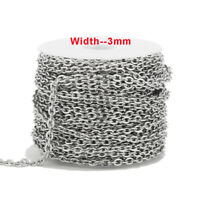 Stainless Steel 3mm Width Chains Link Rolo Cable Chains Findings 5 Meters/lot