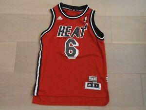 MIAMI HEAT #6 JAMES 1995 - 1999 NBA RED SEWN BASKETBALL JERSEY ADIDAS BOYS M