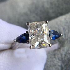 Engagement Ring 14k White Gold Certified 3Ct Radiant Cut Moissanite Wedding