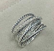 Cavo CROSSOVER ampia Pave Anello di diamanti in Argento Sterling Anello fatto a mano VVS1/D