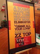 "Big 11X17 Framed Zz Top ""Eliminator"" Lp Album Cd + Gimme All Your Lovin Promo Ad"