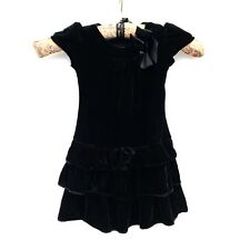 George Baby Black party Dress bow age 18-24 months layered ruffle velvet look