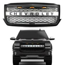 For 2016-2018 Chevy Silverado 1500 Amber LED Front Bumper Grille Grill w/Logo