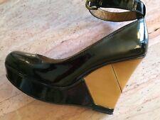 NEW B MAKOWSKY 8.5 leather patent wedge heel 39 platform almond toe black tan
