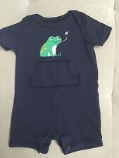 Baby Boy 6-9 Month Gymboree With Frog Blue Shortall Outfit Cotton