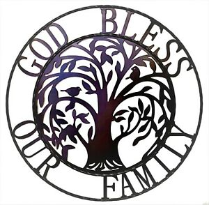 """Tree of life Metal Wall Art - God bless our family 24"""" Metal Circle Wall Hanging"""