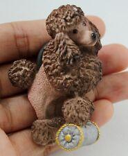 Brown Poodle Dog 3D Fridge Magnet Resin Sculpture Animal Handcraft Gift Kitchen