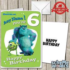 Monsters Inc Personalised Birthday Greeting Card Boy Disney Pixar Toy CA243