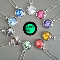 Glow In The Dark Moon Necklace Galaxy Planet Glass Cabochon Pendant Necklace Hot