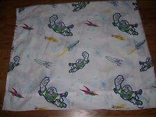Disney Buzz Lightyear Twin Size Flat Bed Sheet Toy Story Fabric Material SUPER