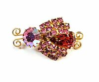 Juliana D&E DeLizza and Elster pink Aurora Borealis Bee bug brooch mid century 1