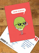 Funny Christmas Xmas Postcard 'Everyday I'm Brusselin' Comedy Humour Novelty