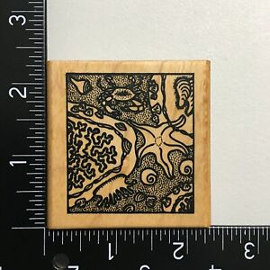 Meer Image Sea Life Square Wood Mounted Rubber Stamp