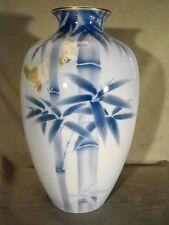 """Excellent Large Fukagawa Porcelain Birds & Bamboo Vase 10""""h"""