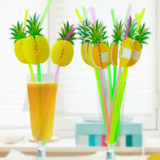 10X 3D PINEAPPLE TROPICAL FRUIT STRAW BEACH PARTY COCKTAIL DRINKING SUCKER HUMB