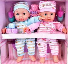 Twins Baby Girl & Boy Twin Dolls Babies Gift Set - Dummy, Toy, Doll Accessories