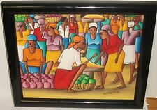 FRANZY ALLEN HAITI MARKET PLACE ORIGINAL ACRYLIC ON CANVAS PAINTING SIGNED