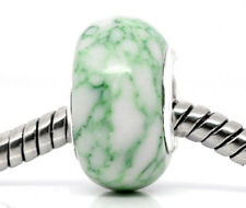 Green White Semi-Precious Gemstone Stone Bead for Silver European Charm Bracelet