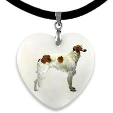 Borzoi Dog / Russian Wolfhound Mother Of Pearl Heart Pendant Necklace PP113