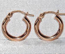 9CT ROSE GOLD CREOLE LADIES PLAIN HOOP EARRINGS