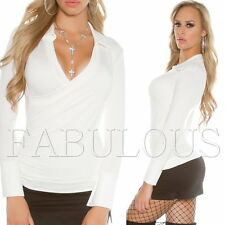 New Women's Ladies Wrap Style Top Blouse V-Neck Party Casual Wear Size 6 8 XS S