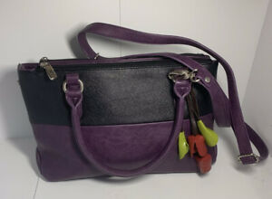 """ESPE Two-Tone Purple And Black Faux Leather Handbag with Tulips Charms 13"""" x 8"""""""