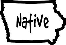 Iowa outline decal sticker native white 5x3.5