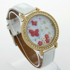 Ladies Fashion Gold Quartz 3D Butterfly Faced Rhinestone White Band Wrist Watch.