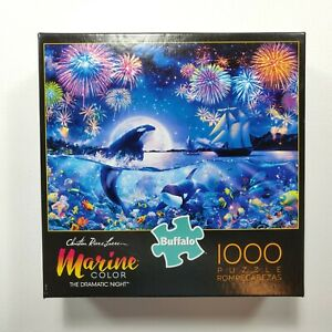 Marine Color Dramatic Night 1000 Piece Jigsaw Puzzle Whales Buffalo Games NEW