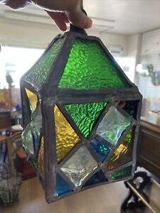 Antique Coloured Glass Leaded Glass Lantern