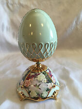Collectible Vintage Porcelain Humming Bird Blue Egg Music Box Ardleigh Elliott