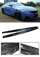 For 15-Up BMW E82 M4 Side Skirts Extension Bottom Line Lip M-Performance Style