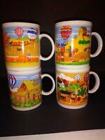 Vintage Japan Set of 4 Mugs Colorful Hot Air Balloons Farmland Barn Church Crops