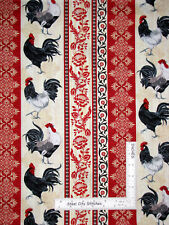 Rooster French Country Stripe Cotton Fabric Timeless Treasures C5996 By The Yard