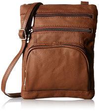 AFONiE Genuine Fashion Geneva Genuine Leather Cross-body Bag BROWN NWT