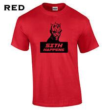 520 Sith Happens Mens T-Shirt galaxy funny jedi yoda geek college comic saber