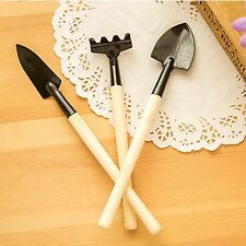 3Pcs Children Kids Potable Plant Garden Hand Wood Tool Kit Spade Rake Shovel