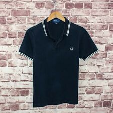 FRED PERRY Men's Slim Fit Polo Shirt Navy Blue Cotton Size Small